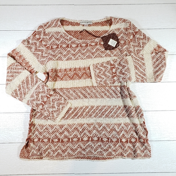 Knox Rose Boho Chic Fall Scoop Neck Sweater NWT